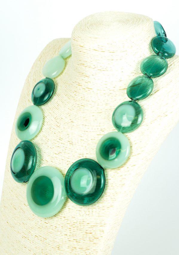 Indio - Collana Perle Verde Smeraldo Vetro Soffiato - Made Murano Glass