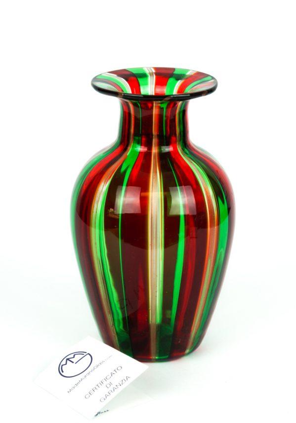 Maratea - Vaso Vetro Soffiato In Canna Verde-Rosso