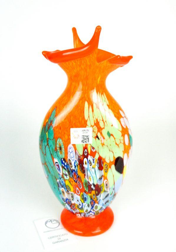 Primavera - Vaso Taglio Arancio Murrina Millefiori