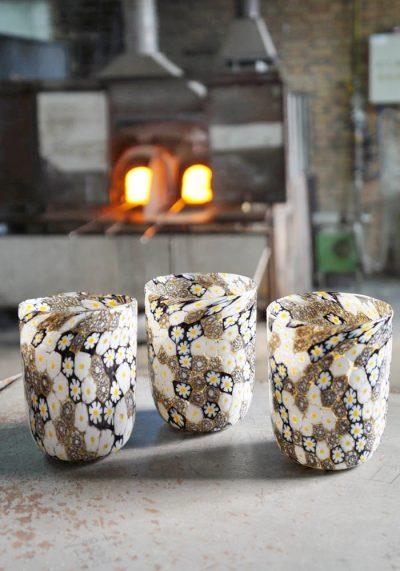 Set Of 3 Murano Drinking Glasses With Murrina – Venetian Blown Glass