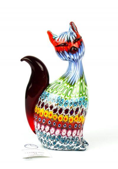 Stacy – Sculpture Cat Mosaic Murrina Millefiori – Made Murano Glass