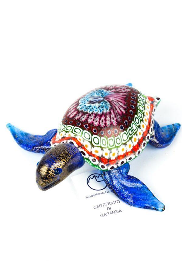 Scultura Tartaruga Marina Blu Mosaico Murrina Millefiori