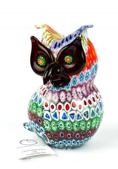 Sculpture Owl Mosaic Murrina Millefiori – Made Murano Glass