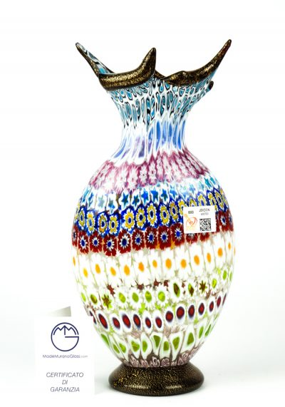 Rivers – Mosaic Vase With Murrina Millefiori And Gold 24kt