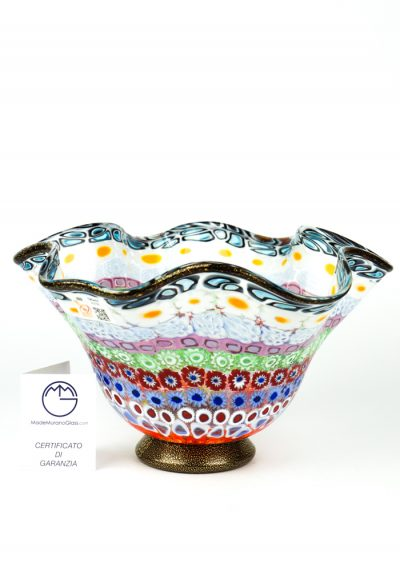 Emotion – Mosaic Bowl With Murrina Millefiori And Gold 24kt