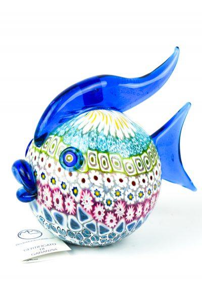 Sculpture Puffer Fish Mosaic Murrina Millefiori – Made Murano Glass