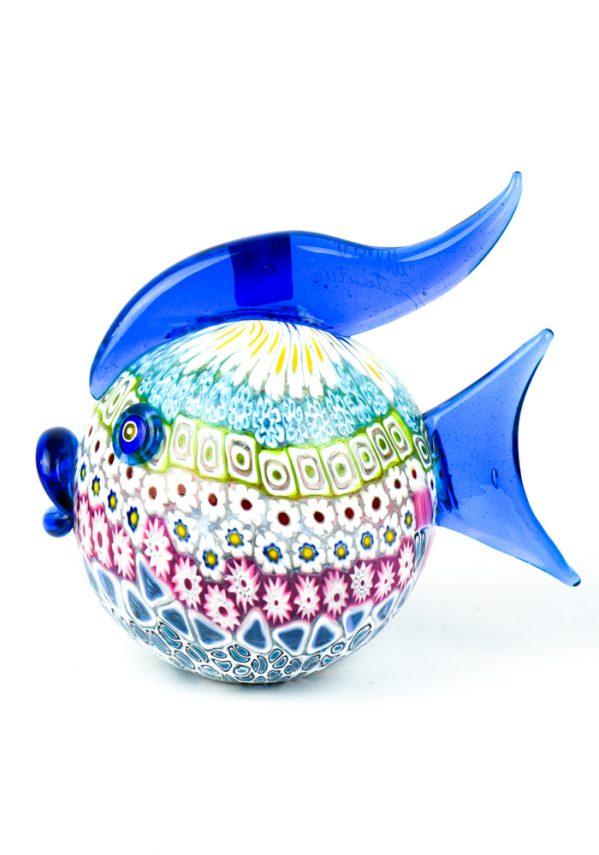 Scultura Pesce Palla Mosaico Murrina Millefiori murano glass fish