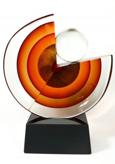 Made Murano Glass Disc Sommerso Sculpture