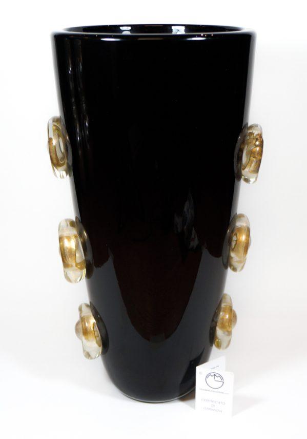 Vichingo - Vaso Vetro Murano Nero E Oro - Made Murano Glass