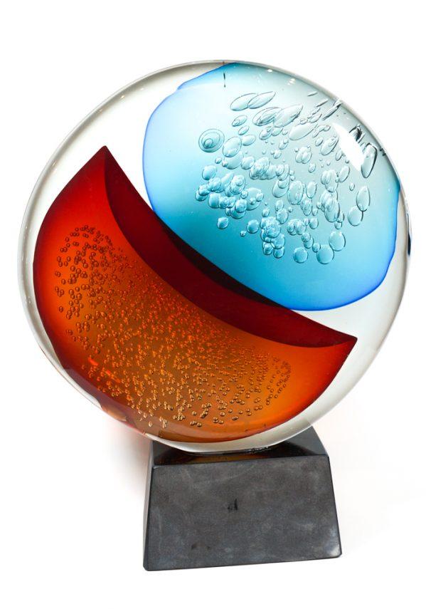 Vortice - Scultura Disco Sommerso Grande In Vetro Murano - Made Murano Glass