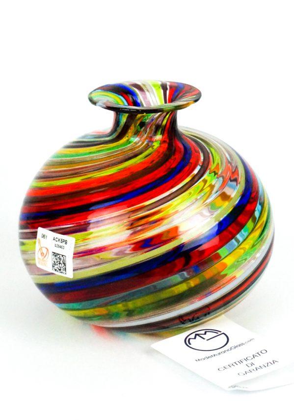 Tuxa - Vaso Vetro Soffiato In Canna Multicolore