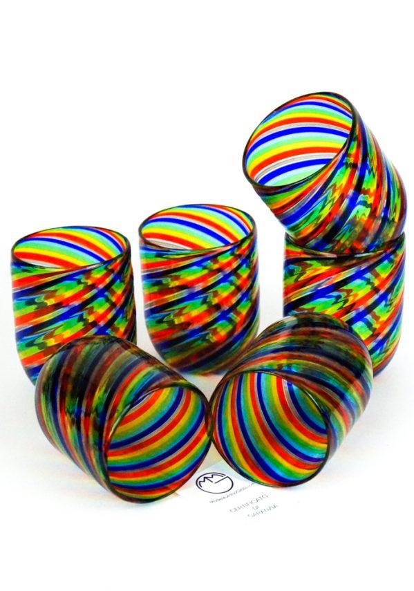 Rainbow - Set Di 6 Bicchieri Vetro Murano In Canna