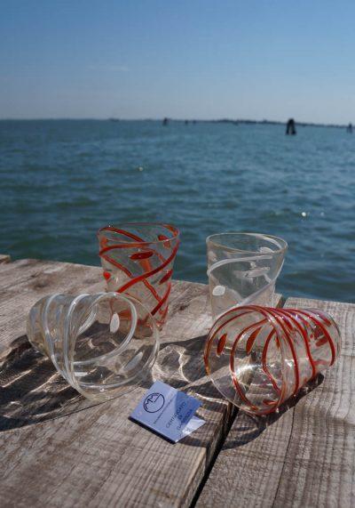 Set Of 4 Murano Drinking Glasses – Goto With Gold 24 Carats – Murano Art