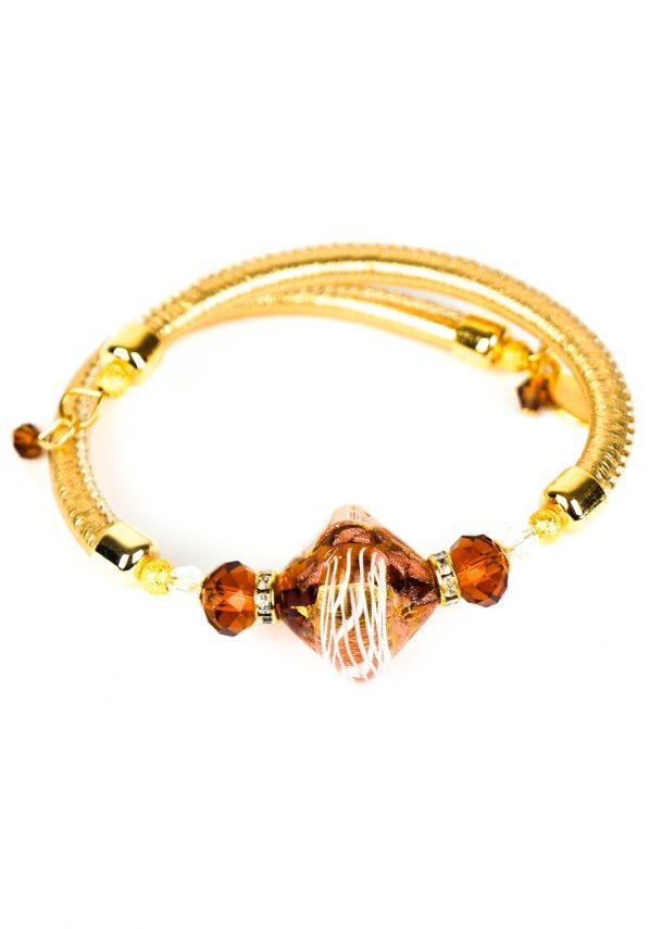 Maria - Bracciale Ambra Oro Perla Rombo Vetro Di Murano