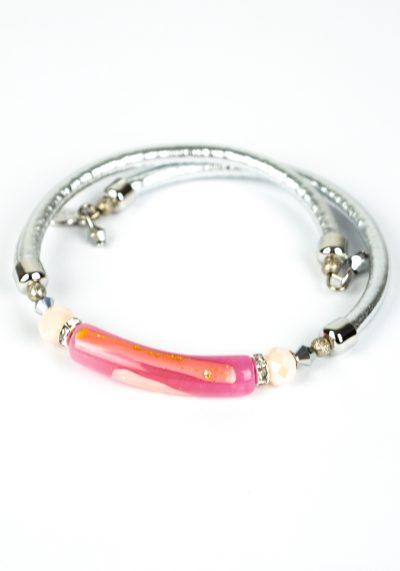 Liviana – Murano Glass Bracelet – Pink Gold Filigree