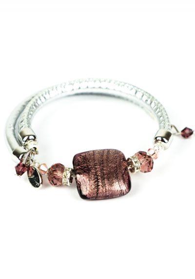 Mamy – Murano Glass Bracelet – Amethyst Silver Leaf