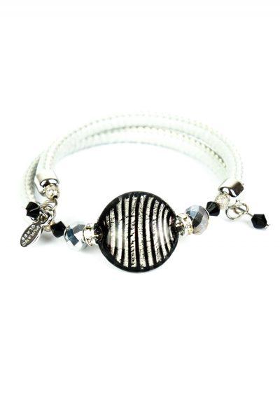 Oria – Murano Glass Bracelet – Black Silver Leaf