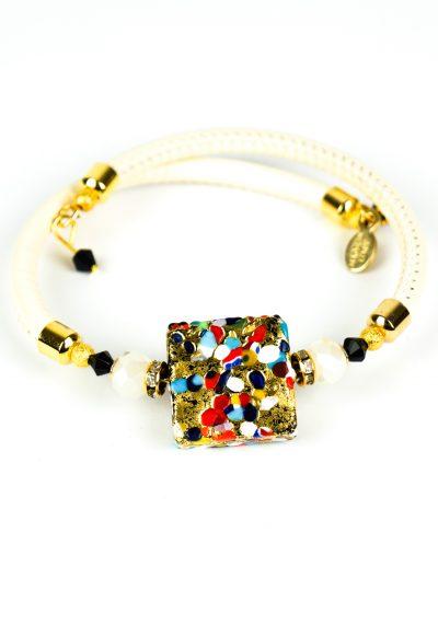 Foise – Murano Glass Bracelet – Murrina Millefiori Gold Leaf