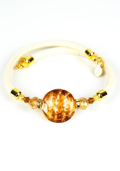 Ritmo – Murano Glass Bracelet – Amber Aventurine Gold Leaf