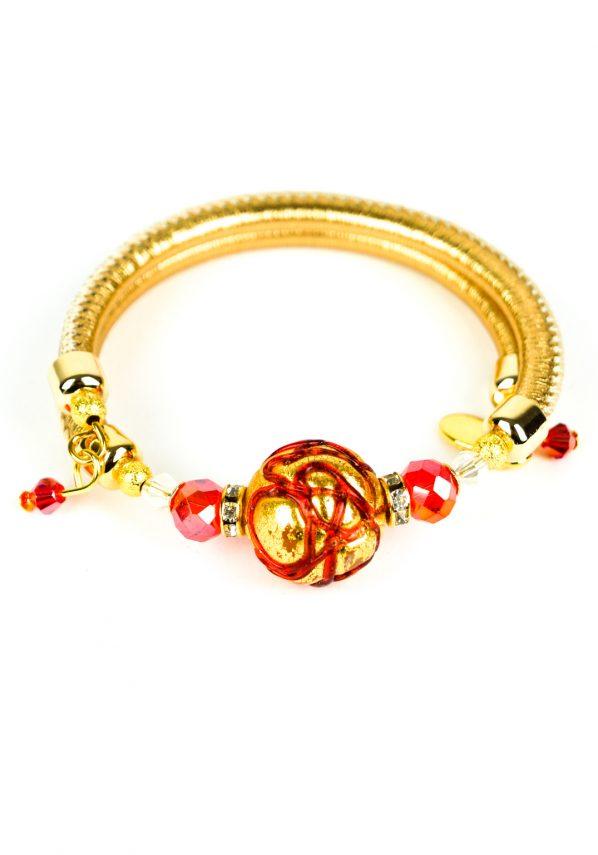 Isy - Bracciale Oro Rubino Perla Rotonda Vetro Di Murano