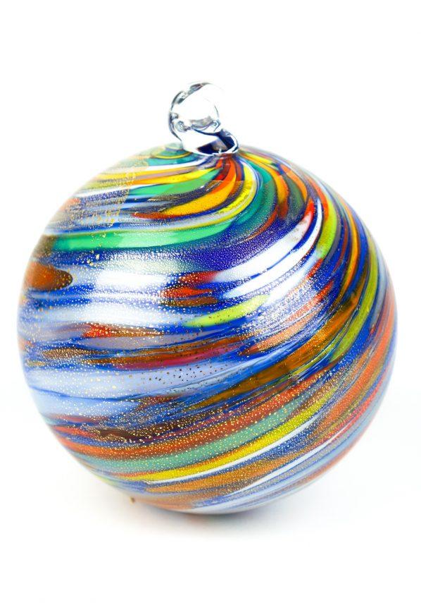 Palla Di Natale Blu Multicolore Oro In Vetro Soffiato