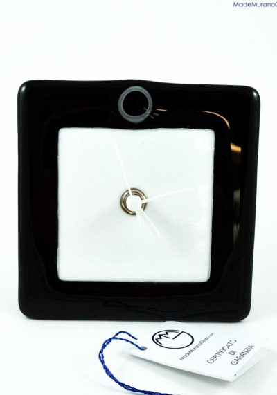 Table Clock In Murano Glass – Black And White