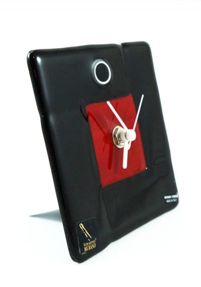 Table Clock In Murano Glass – Black And Red