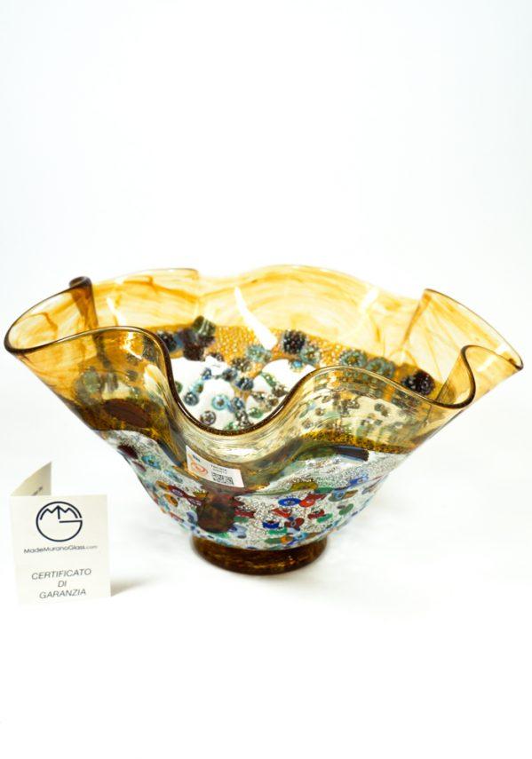 Aura - Coppa Centrotavola Colature Ambra - Made Murano Glass