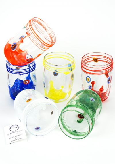Carnevale – Set Of 6 Murano Drinking Glasses – Goto De Fornasa