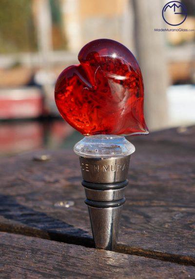 Bottle Stopper Heart In Murano Glass – Master Apa