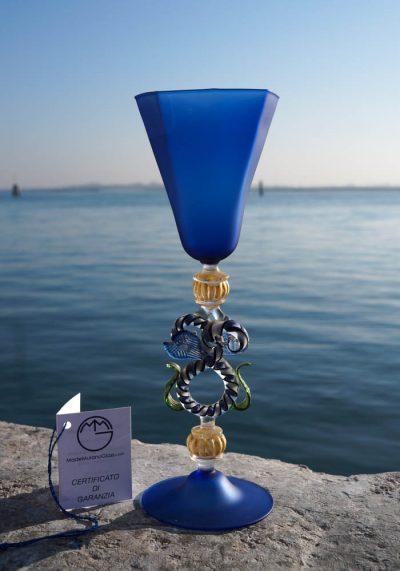 Roma – Venetian Glass Satin Blue Goblet – Murano Art Glass