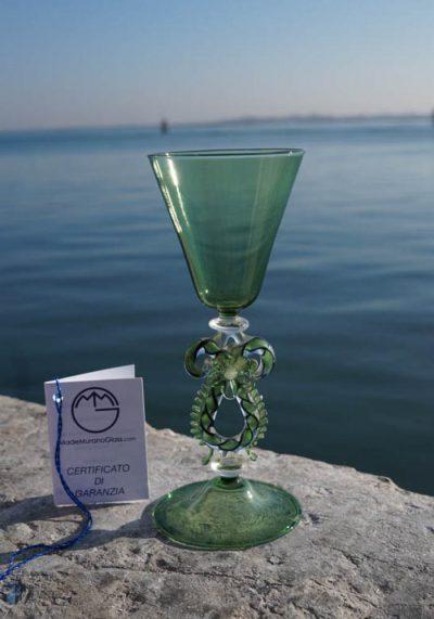 Venetian Glass Green Goblet – Murano Collection