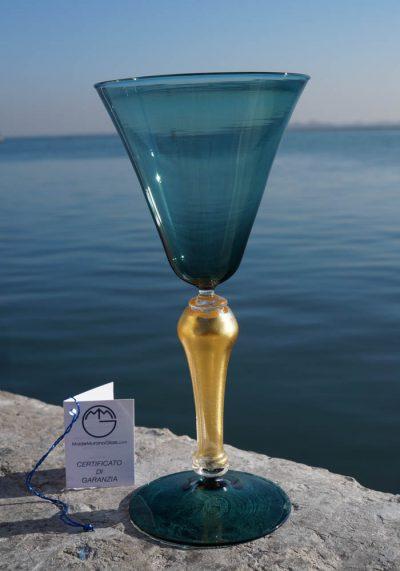 Oceano – Venetian Glass Green Goblet – Murano Wine Glasses