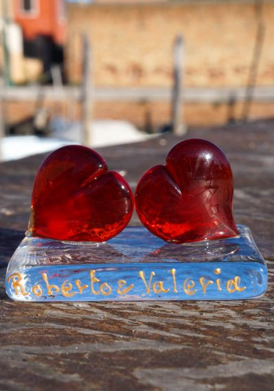 Sculpture Hearts Saint Valentine In Murano Glass – Custom Made Incision With Your Names