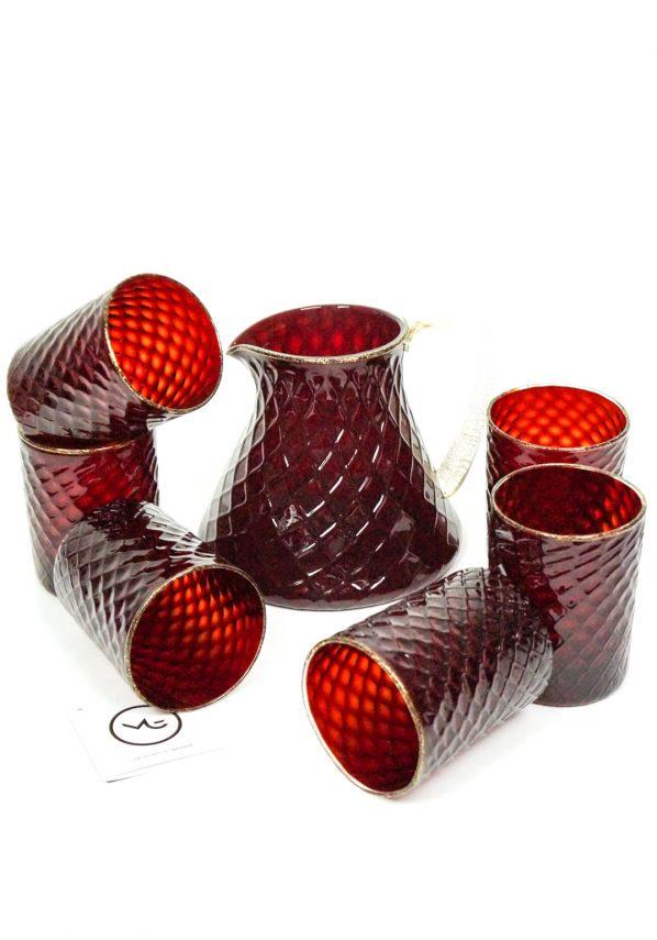 Rigoletto - Set Di 6 Bicchieri + Caraffa Vetro Soffiato Rosso Oro