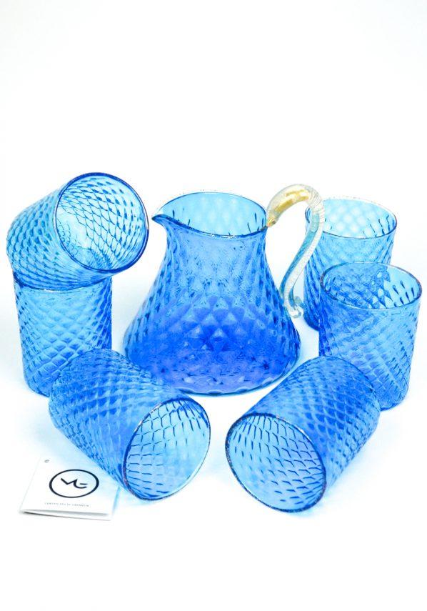 Nabucco - Set Di 6 Bicchieri + Caraffa Vetro Soffiato Acquamarina E Oro