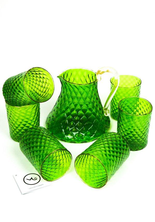 Otello - Set Di 6 Bicchieri + Caraffa Vetro Soffiato Verde E Oro