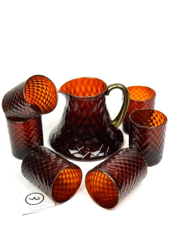 Tosca - Set Di 6 Bicchieri + Caraffa Vetro Soffiato Ambra E Oro