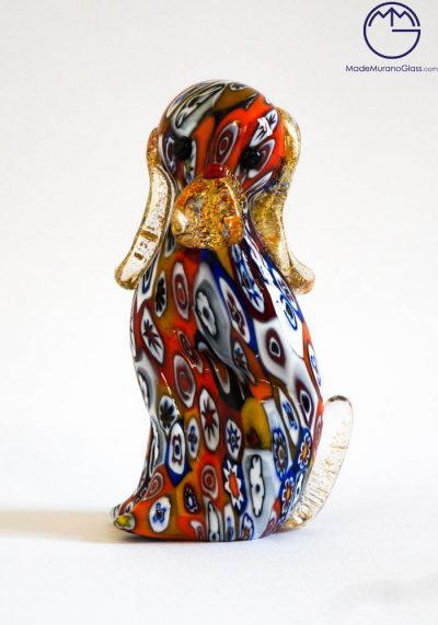 Murano Glass Animals – Dog With Murrina And Gold Leaf 24 Carats