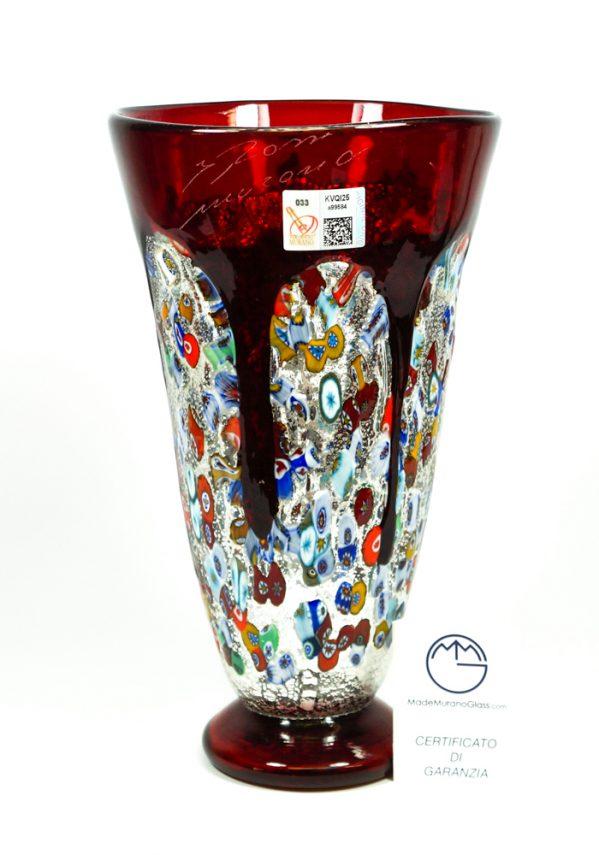 Bocca Di Fuoco - Vaso Colature Rosso - Made Murano Glass