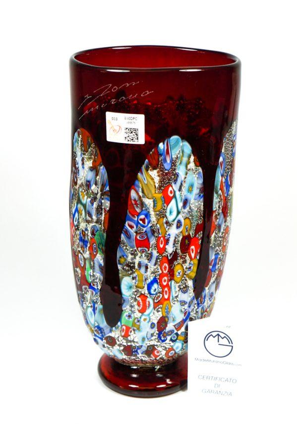 Tempera - Vaso Colature Rosso - Made Murano Glass
