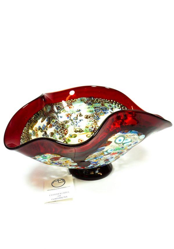 Grand Canyon - Coppa Centrotavola Colature Rosso - Made Murano Glass