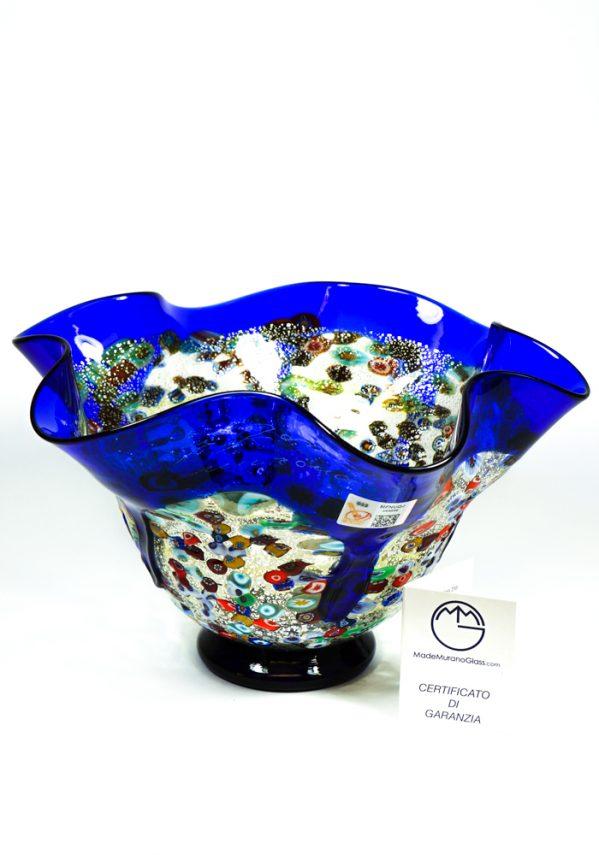 Ritmo - Coppa Centrotavola Colature Blu - Made Murano Glass