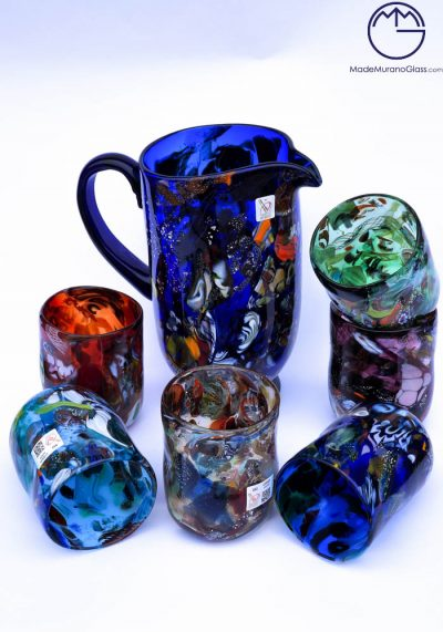 Lione – Set Of 6 Murano Drinking Glasses + Carafe