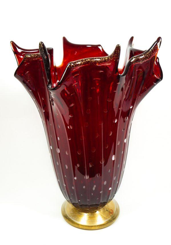 Rey - Vaso Vetro Murano Rosso E Oro 24kt