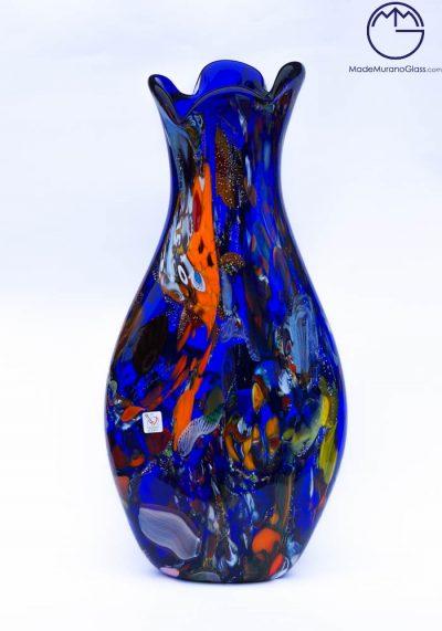 Malhi – Grande Vaso Vetro Murano Fantasia Blu