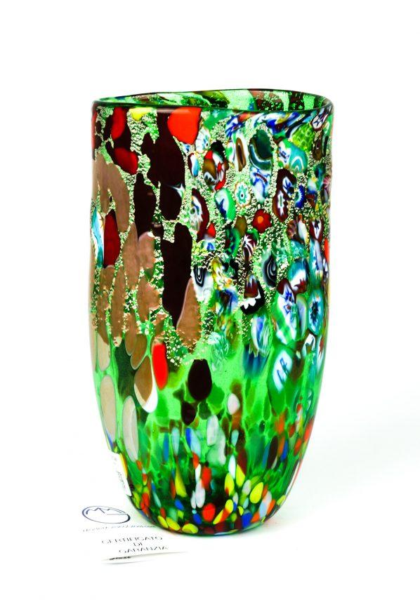 Mirea - Vaso Piatto In Vetro Murano Fantasia Verde