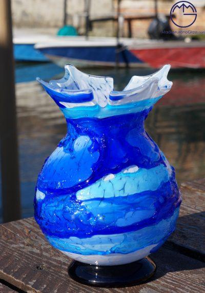 Napoli – Murano Glass Vase Sbruffi Blue