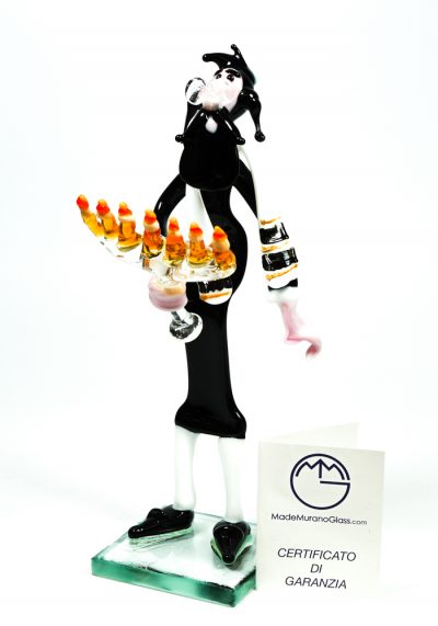 Comic Figurine Of Jewish Rabbi With Menorah – Made Murano Glass