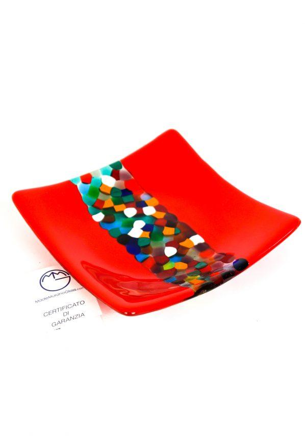 Piatto Quadrato Rosso In Vetro Fusione